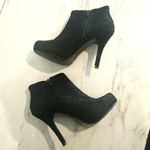 Lace Covered Black Stiletto Ankle Boots